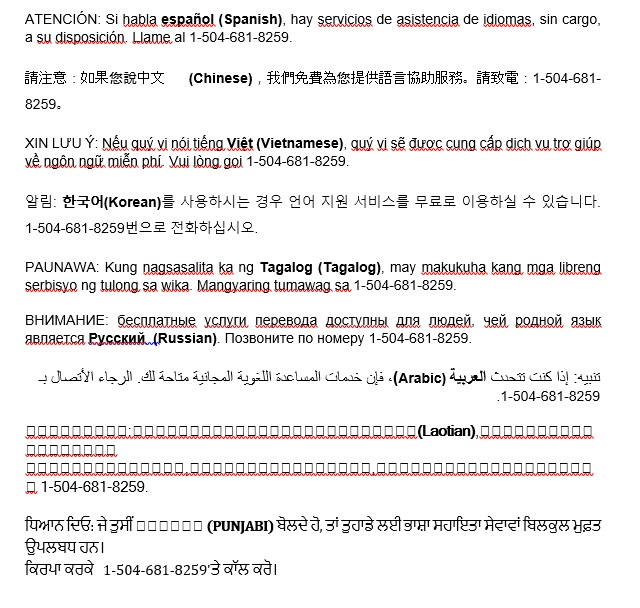 Language Assistance Services Information in different foreign languages